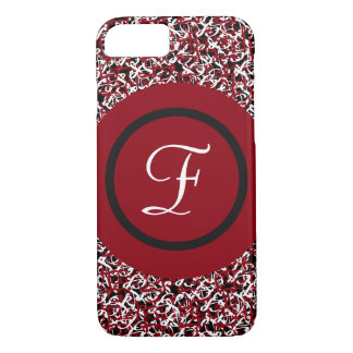 Abstract Red Black & White Floral Monogram Pattern iPhone 8/7 Case