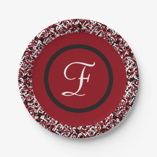 Abstract Red Black & White Floral Monogram Pattern Paper Plate