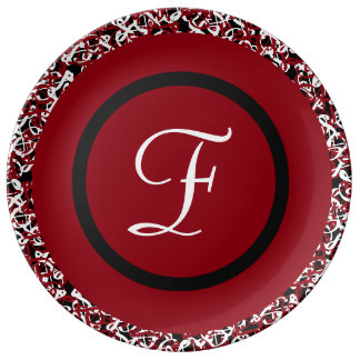 Abstract Red Black & White Floral Monogram Pattern Plate
