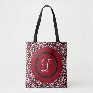 Abstract Red Black & White Floral Monogram Pattern Tote Bag