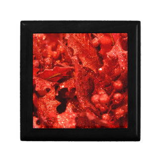 abstract red christmas berries gift box