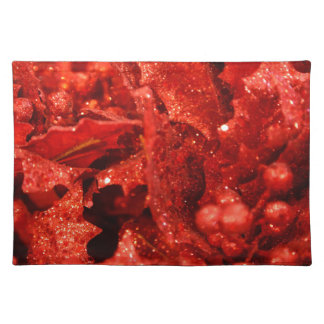 abstract red christmas berries placemat