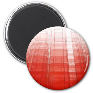 Abstract Red Construct: 6 Cm Round Magnet
