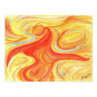 Abstract Red Dancer Art Postcard