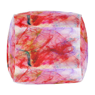 abstract red everywhere pouf