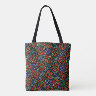 Abstract Red Floral Pattern Tote Bag