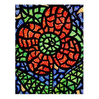Abstract Red Flower Colorful Art Postcard