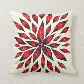 Abstract Red Flower Doodle Drawing Cushion