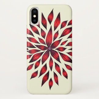 Abstract Red Flower Doodle Drawing iPhone X Case
