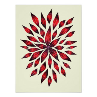 Abstract Red Flower Doodle Drawing Poster