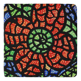 Abstract Red Flower Trivet