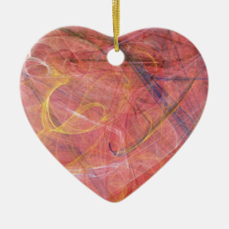 Abstract red fractal ceramic heart decoration