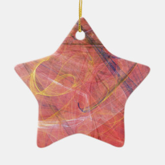 Abstract red fractal ceramic star decoration