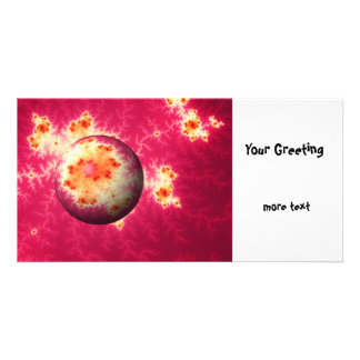 Abstract Red Globe Picture Card