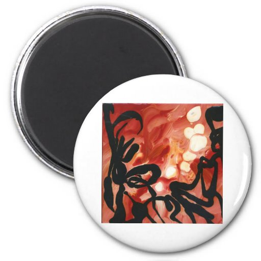 abstract Red Groovy Gear Melted dots Refrigerator Magnets