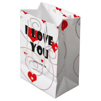 Abstract red hearts and swirls medium gift bag