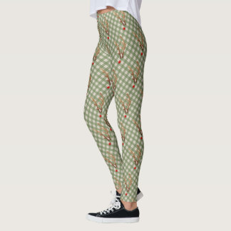 Abstract Red-Nosed Reindeer, Green and White Plaid Leggings