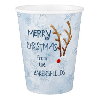 Abstract Red-Nosed Reindeer - Merry Christmas from Paper Cup