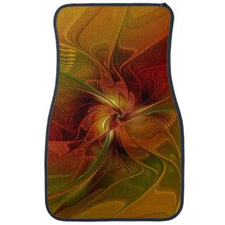 Abstract Red Orange Brown Green Fractal Art Flower Floor Mat