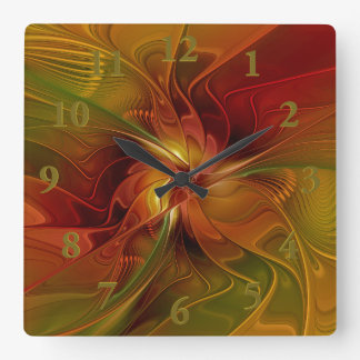 Abstract Red Orange Brown Green Fractal Art Flower Square Wall Clock