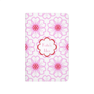 Abstract Red Pink Flower Doodle Heart Pattern Journal