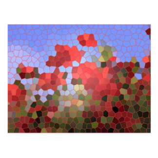 Abstract Red Poppies Blue Sky Stained Glass Mosaic Postcard