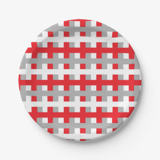 Abstract Red, Silver and White Paper Plate