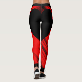 Abstract Red Stripes Black Heart Leggings