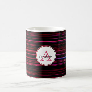 Abstract Red Stripes on Black Monogrammed Coffee Mug
