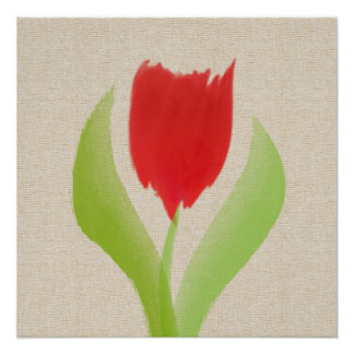 Abstract Red Tulip Watercolor On Canvas Art Poster