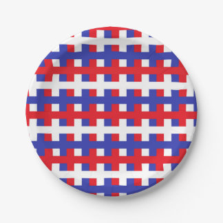 Abstract Red, White and Blue Paper Plate