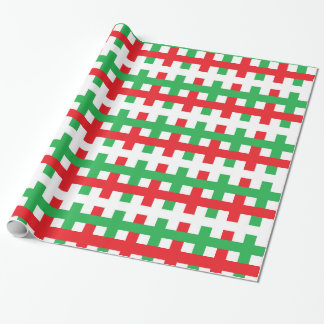 Abstract Red, White and Green Wrapping Paper