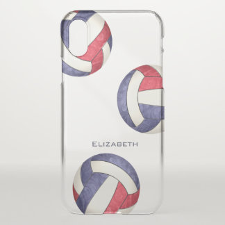 abstract red white blue girls' volleyball iPhone x case