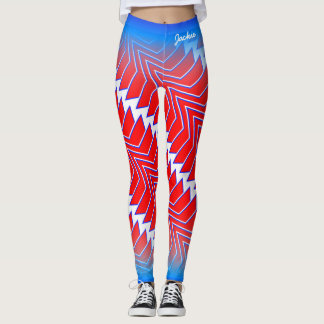 Abstract Red White Blue Star Pattern Leggings