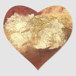 Abstract Red with Gold (Kimberly Turnbull Art) Heart Sticker