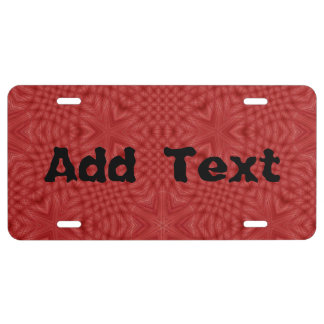 Abstract Red wood pattern License Plate