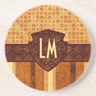 Abstract Retro Grunge Amber Brown Orange Patterns Drink Coaster