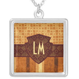 Abstract Retro Monogram Amber Brown Orange Pattern Silver Plated Necklace