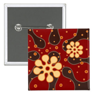 Abstract Retro Snowflakes Greeting Card in Red 15 Cm Square Badge