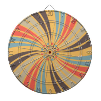 Abstract Retro Swirl On Beeswax Orange Yellow Dartboards