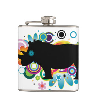 Abstract Rhino Vinyl Wrapped Flask