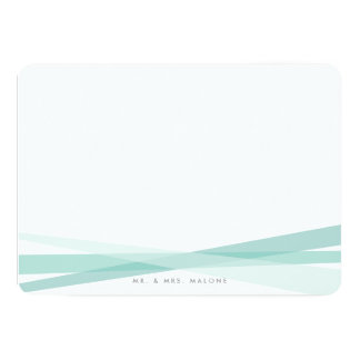 Abstract Ribbons Stationery - Teal Card