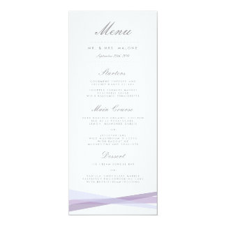 Abstract Ribbons Wedding Dinner Menu - Purple Card