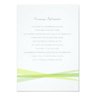 Abstract Ribbons Wedding Insert Card - Green 13 Cm X 18 Cm Invitation Card