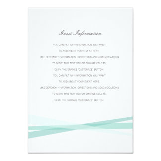 "Abstract Ribbons Wedding Insert Card 4.5"" X 6.25"" Invitation Card"