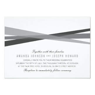 Abstract Ribbons Wedding Invite - Black
