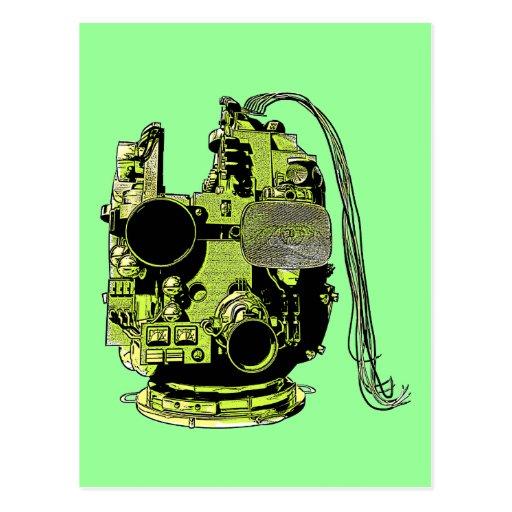 Abstract Robot Head Retro Colors Postcard
