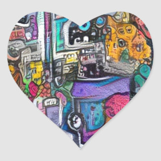 Abstract rock band heart sticker