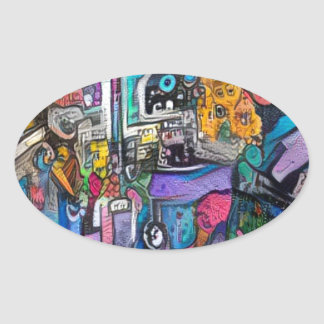Abstract rock band oval sticker