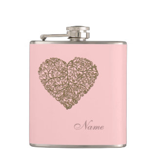 Abstract romantic heart light rose personalized flasks